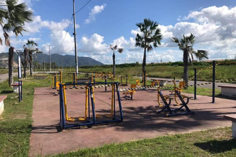 Com as medidas de isolamento social, praças da cidade foram interditadas (Foto: Reprodução/Prefeitura de Pacatuba)