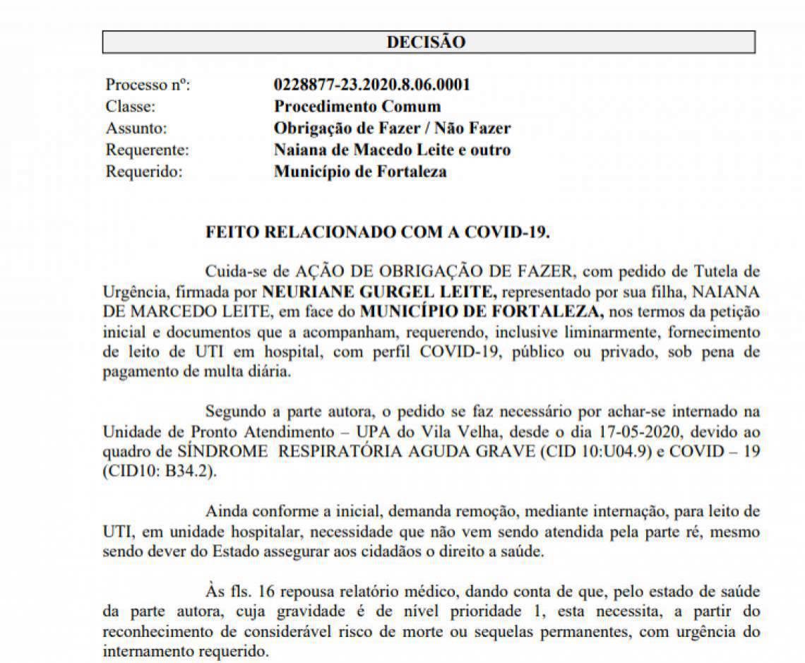Documento do pedido de liminar feito à Justiça pela família de Neuriane Gurgel, acometido de Covid-19 e necessitando de leito de UTI