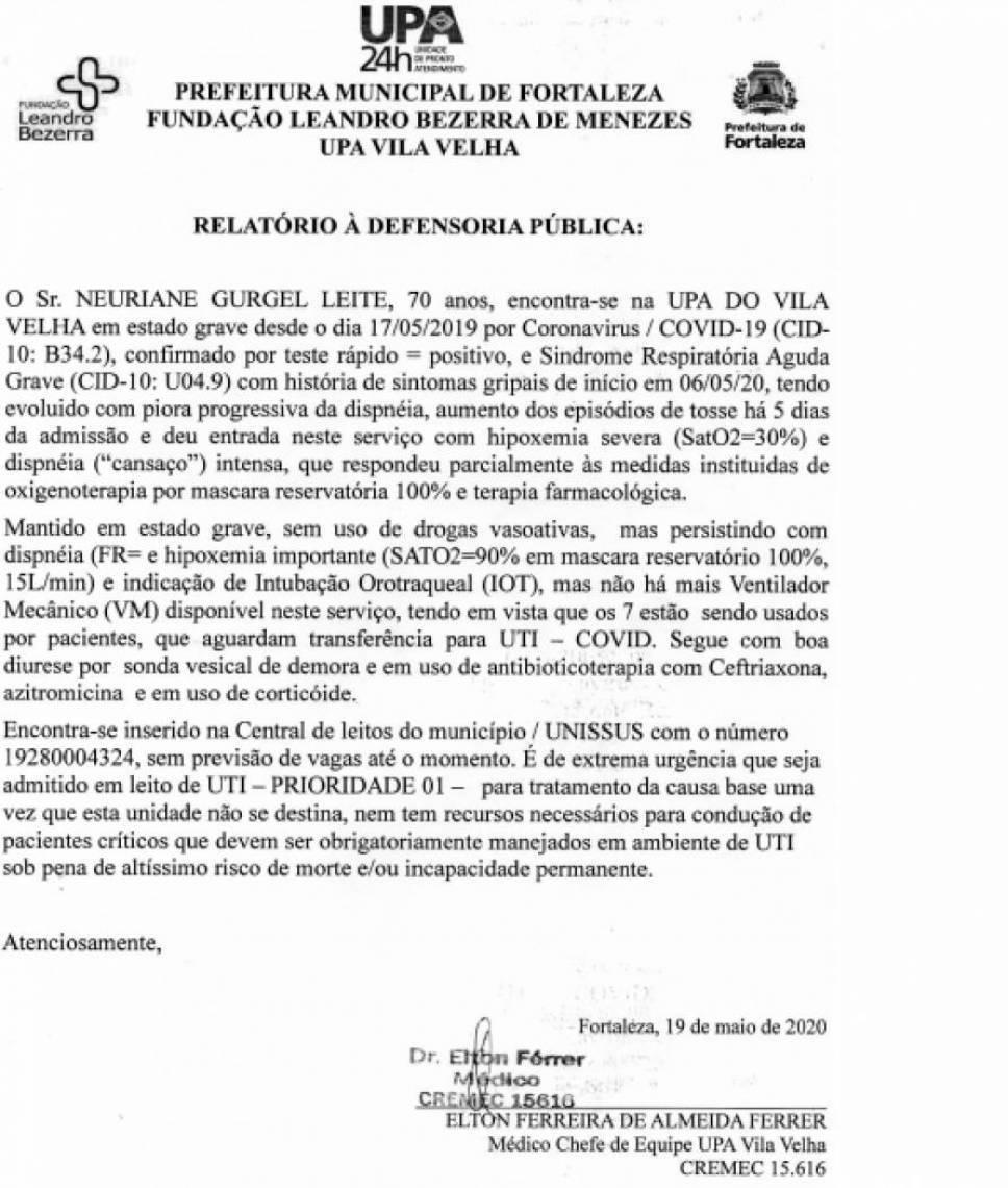 Documento que reforça o estado de Neuriane Gurgel, acometido de covid-19, confirmado em teste rápido