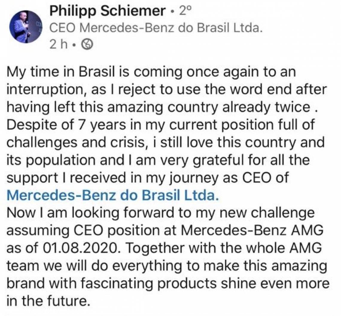 Philipp Schiemer mandou mensagem de agradecimento ao time da Mercedes no Brasil