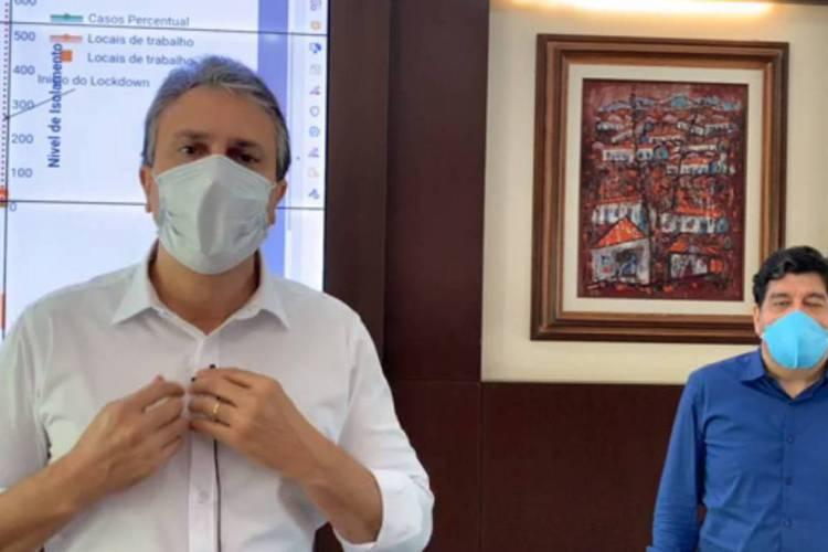 Camilo Santana e Cabeto em transmissão ao vivo (Foto: Reprodução/Facebook)