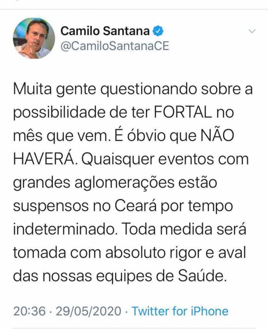 Camilo postou na noite desta sexta-feira no Twitter