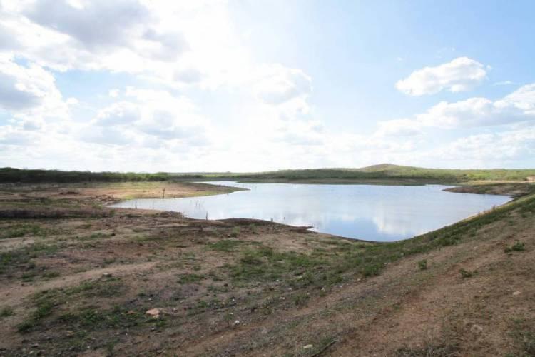 Apesar de chuvas acima da média, armazenamento de água em reservatórios no Ceará preocupa autoridades. Foto tirada em 2013, em açude no município de Caridade, no interior do Estado. (Foto: O POVO)