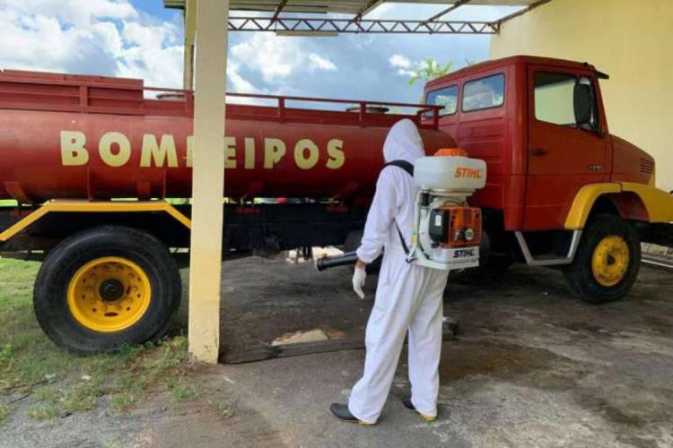 Quartel de sobral foi desinfectado  (Foto: Divulgação/Corpo de Bombeiros )