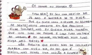 Carta escrita por Patrícia Severiano Batista, 26, uma das voluntárias da iniciativa (Foto: Reprodução)