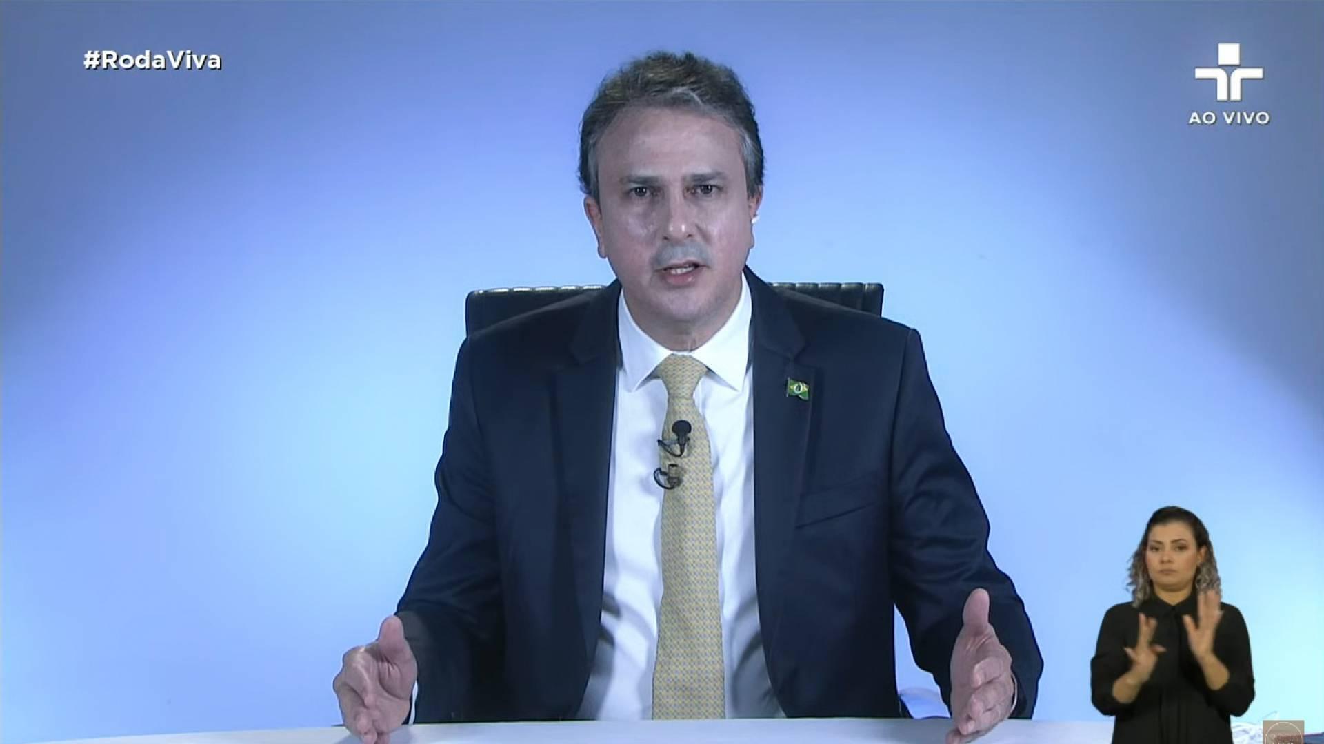 8 de junho de 2020, O governador do estado do Ceara, Camilo Santana, da entrevista ao programa Roda Viva, da tv cultura. (Foto Reprodução/Youtube) (Foto: Reprodução)