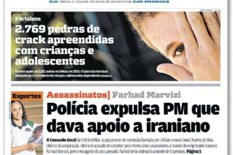 Primeira página do O POVO no dia da condenação de Jean Charles da Silva Libório (Foto: Acervo O POVO)