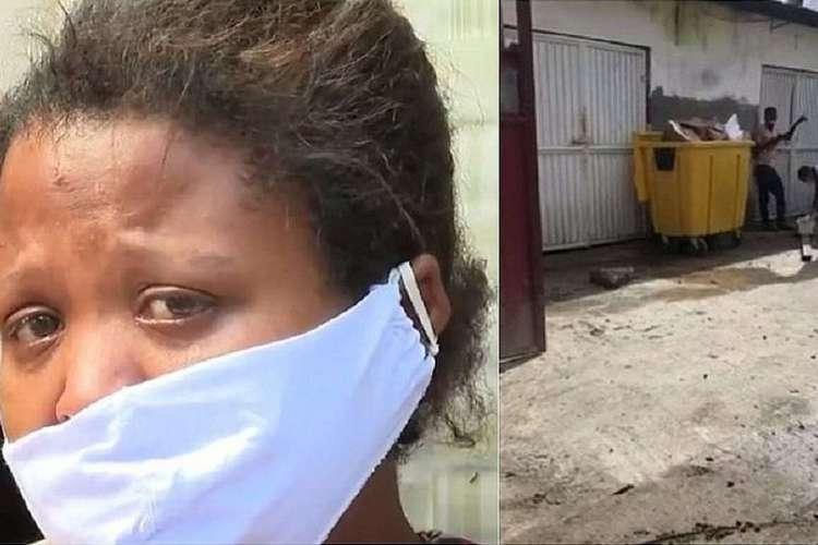 Vídeo mostra corpo do bebê Nauan sendo preparado para o funeral ao lado de lata de lixo (Foto: Reprodução / TV Bahia)