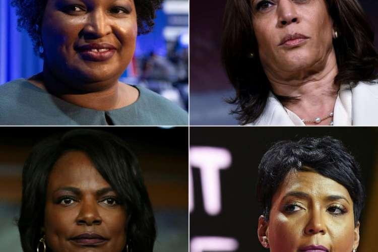 Stacey Abrams, Kamala Harris, Val Demings e Keisha Lance despontam como possíveis nomes para ser vice de Joe Biden nas eleições presidenciais dos EUA (Foto: AFP)