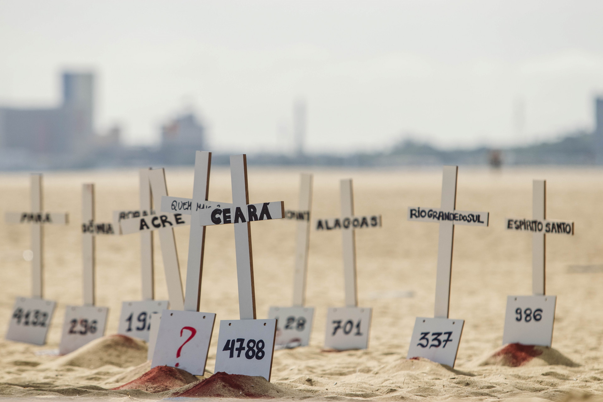 Protesto na Praia de Iracema, em junho de 2020, lembrou vítimas do coronavírus