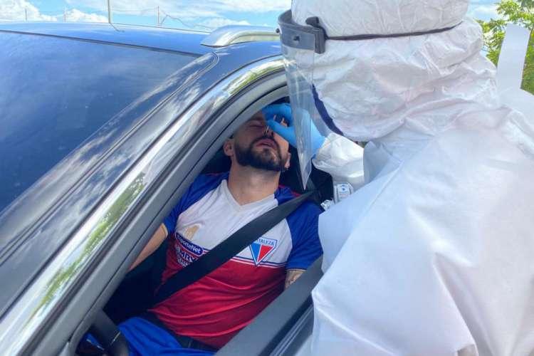 Jogadores do Fortaleza fizeram nova testagem para covid-19 (Foto: Bruno Oliveira/Fortaleza EC)
