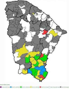 Mapa das chuvas no Ceará de ontem para hoje