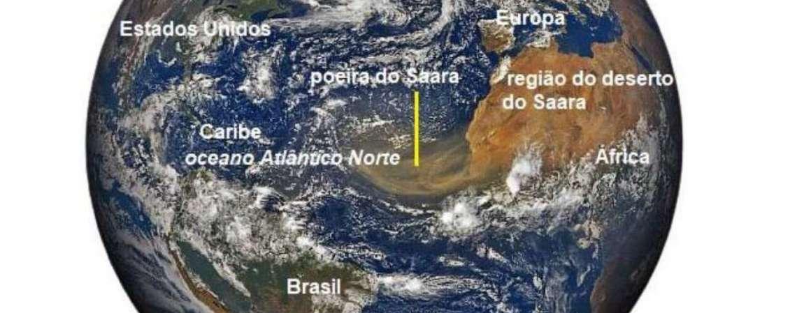 Imagem da nuvem de poeira do Saara captada pelo satélite GOES 16 no dia 18 de junho de 2020