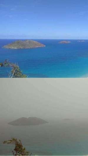 Registros comparam mesma localidade em São Bartolomeu, uma ilha do Caribe, mas em datas diferentes  (Foto: Mirco Ferro/Reprodução Twitter)