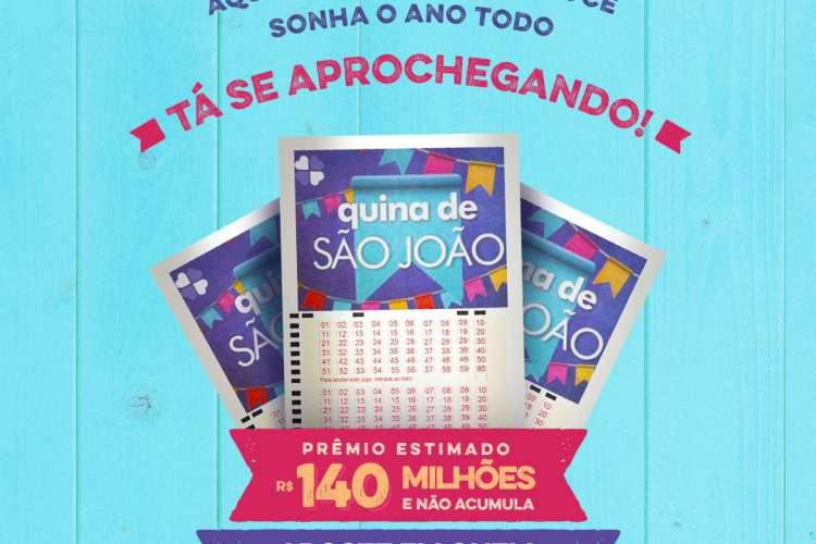 Não haverá sorteio da Quina hoje, quinta-feira, 25 de junho (25/06). Os sorteios da Quina estão suspensos até a realização da Quina de São João, Concurso 5299, que será realizado no sábado, 27 de junho (27/06). O prêmio estimado é de R$ 140 milhões (Foto: Divulgação/CEF)