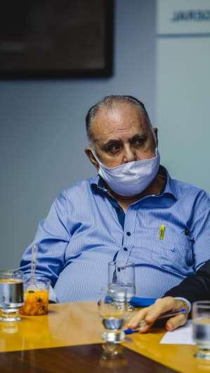 Roberto Pessoa (PSDB), deputado federal licenciado e pré-candidato a prefeito de Maracanaú, durante visita do ministro Rogério Marinho, do Desenvolvimento Regional (Foto: Aurelio Alves/ O POVO)
