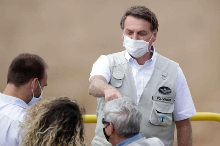 Pena forte em 26 de junho de 2020. O presidente Jair Bolsonaro veio ao Ceará para inaugurar mais uma etapa da transposição do Rio São Francisco (Foto: JL ROSA)