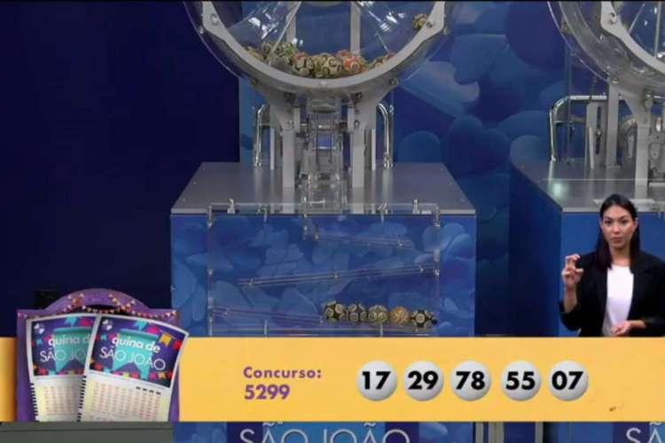 O resultado da Quina Concurso 5299, a Quina de São João, foi divulgado na noite de hoje, sábado, 27 de junho (27/06) (Foto: Reprodução)