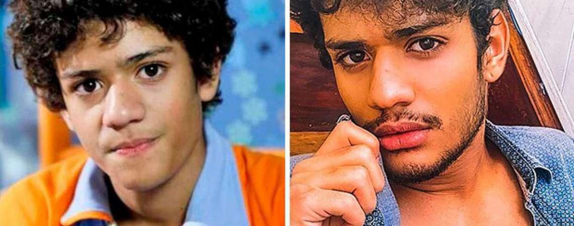 Antes e depois do ator Gabriel Santana, que interpretou o órfão Mosca em Chiquititas