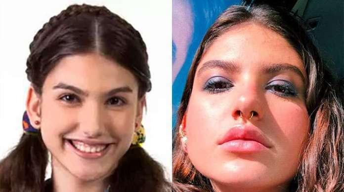 Antes e depois da atriz Giovanna Grigio, intérprete da protagonista Mili em Chiquititas