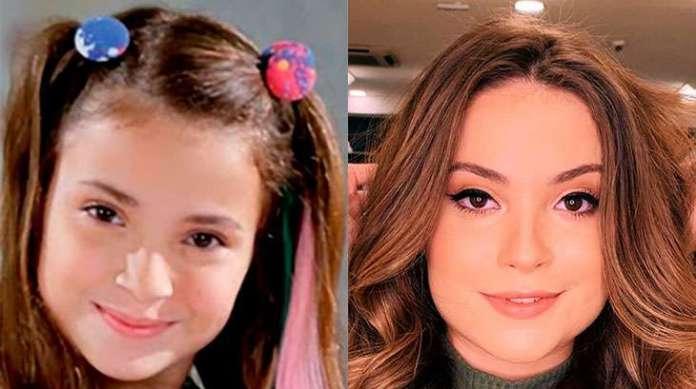 Antes e depois da atriz Raissa Chaddad, que viveu a Bia em Chiquititas
