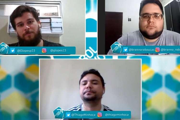 Brenno Rebouças, Gabriel Lopes e Thiago Minhoca foram os debatedores do Futebol do Povo nesta segunda-feira, 29 (Foto: Reprodução/Facebook)
