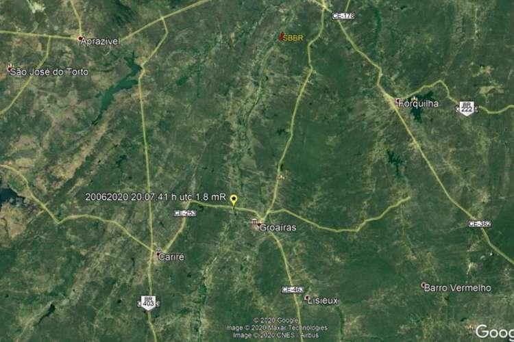 Localização epicentral do tremor registrado no município de Groaíras (Foto: Reprodução/LabSis)