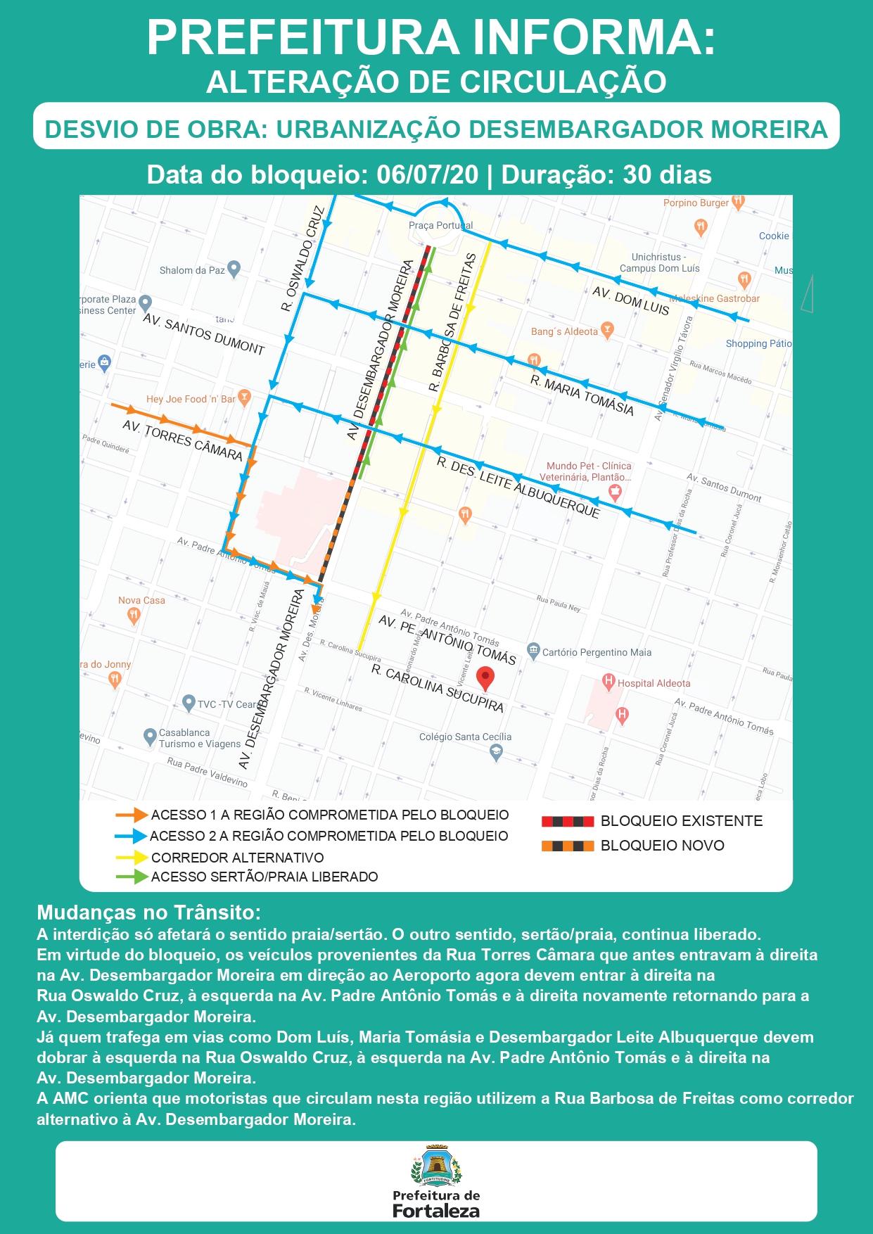 Mapa mostra o desvio de trecho da avenida Desembargador Moreira