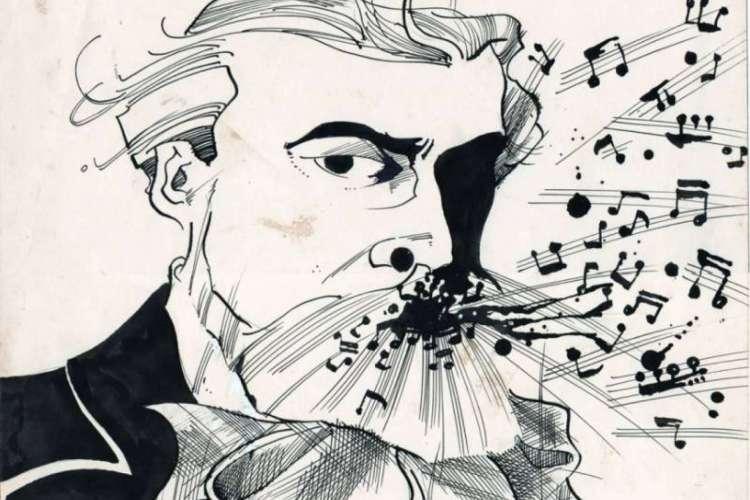 Ilustração em nanquim de Alberto Nepomuceno para O POVO, de Mario Sanders (1988) (Foto: Mário Sandes/Divulgação)