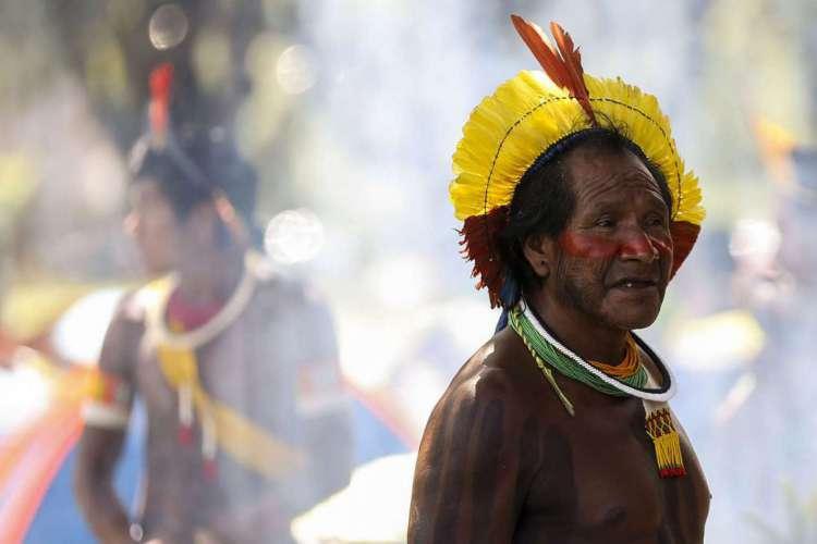 Brasília - Indígenas de todo o Brasil chegam à Brasília para o Acampamento Terra Livre. (Foto: Marcelo Camargo/Agência Brasil)