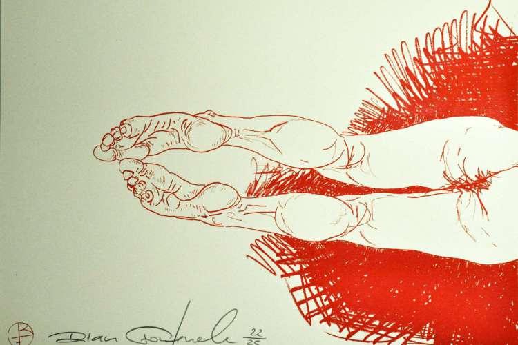 Risografia Rian Fontenele. Gravura formato A3 risografia em 1 cor (vermelho) sobre papel pólen 90 g  (Foto: Divulgação)