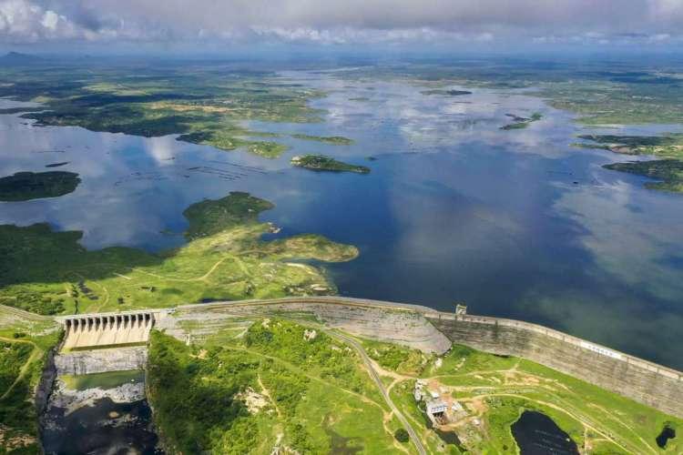 Maior reservatório do Ceará, Castanhão, na bacia do Médio Jaguaribe, começa 2021 com 11,08% de sua capacidade. (Foto: Gil Magalhães/Especial para O POVO)