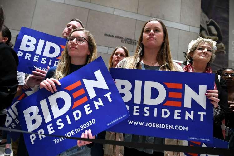 Eleitores do candidato à presidência dos EUA, Joe Biden (Foto: AFP)