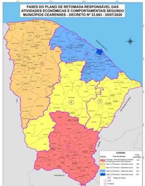 Mapa demonstra que apenas Fortaleza está na Fase 4 do Plano de Retomada Econômica