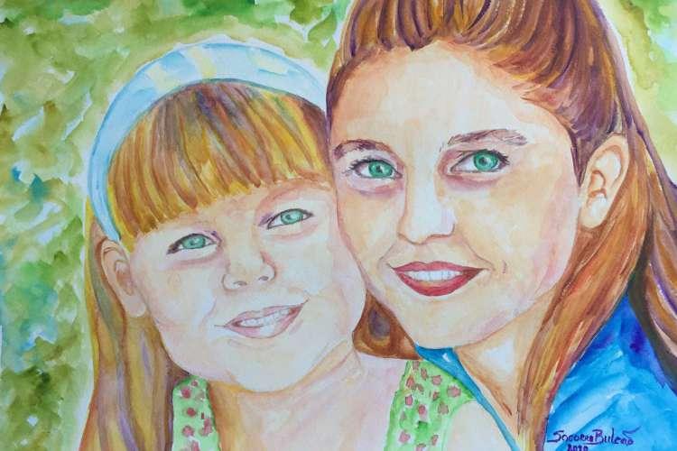 Autorretrato de Socorro Bulcão com a filha Isadora aos 4 anos. Pintura em aquarela foi produzida em maio deste ano, durante o isolamento social (Foto: Reprodução)