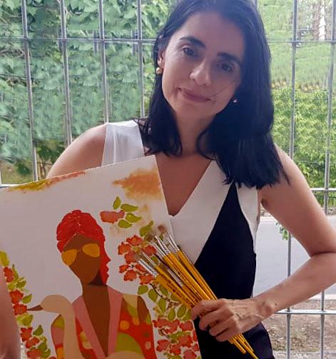 Professora Marta Sorelia Castro em um momento criativo durante a quarentena