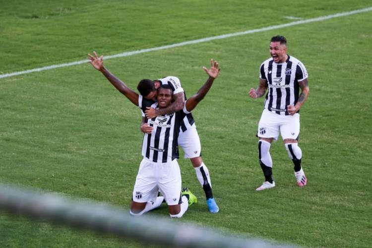 Bahia em 01 de agosto de 2020, Lance do gol do ceara, na final da copa do nordeste, com a equipe do Bahia. (Foto Felipe Santos/cearasc.com) (Foto: Felipe Santos/cearasc.com)