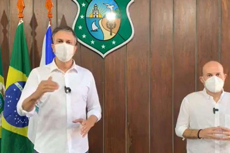 Camilo Santana (PT) e Roberto Cláudio (PDT) durante a live que anunciou o novo Plano de Retomada Econômica  (Foto: REPRODUÇÃO)