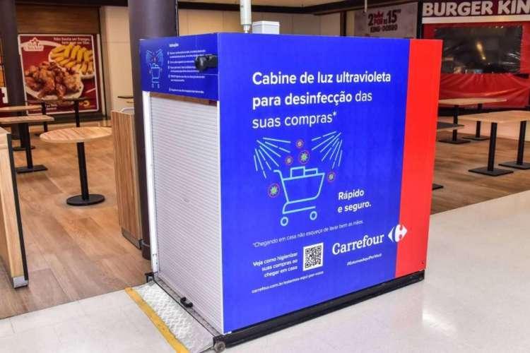 Carrefour usa cabine para descontaminação de alimentos e produtos (Foto: Divulgação)