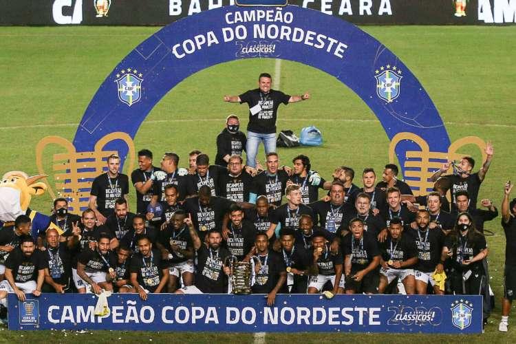 Bahia em 04 de agosto de 2020, Ceara levamta a taca da copa do nordeste entre Ceara x Bahia. (Foto Pedro Chaves/FCF) (Foto: Pedro Chaves/FCF)