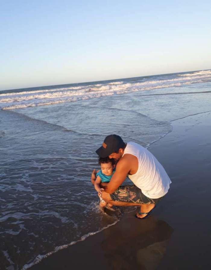 Kerson com o filho Paulo Victor e com a filha Isabelly   (Foto: Acervo pessoal)