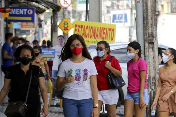 FORTALEZA, CE, BRASIL, 07.08.2020: Comportamento das pessoas em relação ao uso de máscaras. Centro.  (Fotos: Fabio Lima/O POVO) (Foto: Fabio Lima/O POVO)