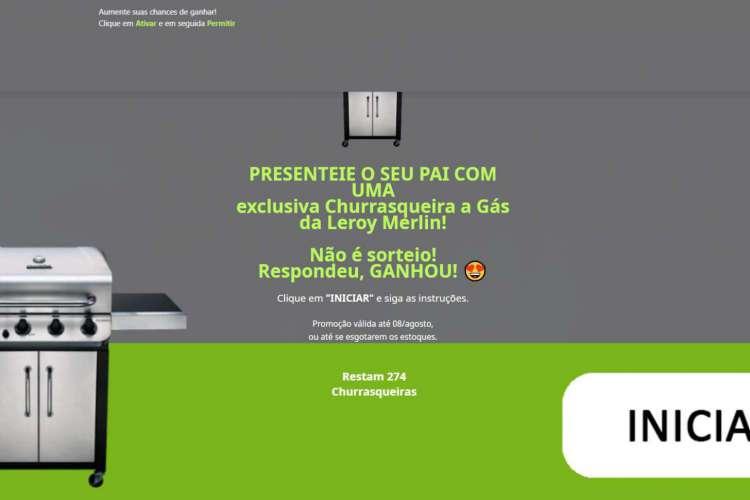 Ao clicar no link, o usuário é levado a um site com as cores e a logo da empresa  (Foto: Reprodução)