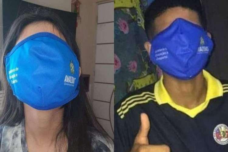 Virou meme: máscaras para alunos de Manaus viram piada na internet por serem de tamanho desproporcional  (Foto: Reprodução Twitter)