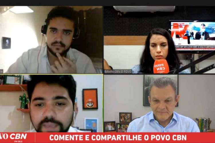 Sarto participou de entrevista mediada pelos jornalistas Ítalo Coriolano, Carlos Holanda e Rachel Gomes, e transmitida pela Rádio O POVO CBN (Foto: Reprodução)