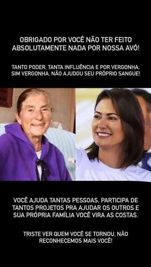 Prints postados pelo primo de Michelle Bolsonaro (Foto: Reprodução)