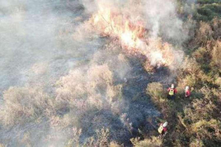 Imagem de um incêndio em Sobral no mês de julho (Foto:  Divulgação/CBM)