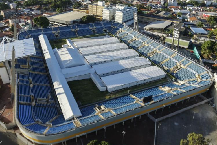Hospital de Campanha Presidente Vargas construído em 2020 em Fortaleza(foto: Barbara Moira)
