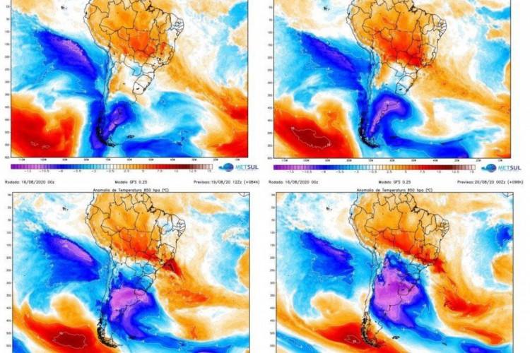 O alerta destaca ainda que o fenômeno pode trazer chuva congelada em locais de menor altitude, ao nível do mar (Foto: Divulgação/MetSul)