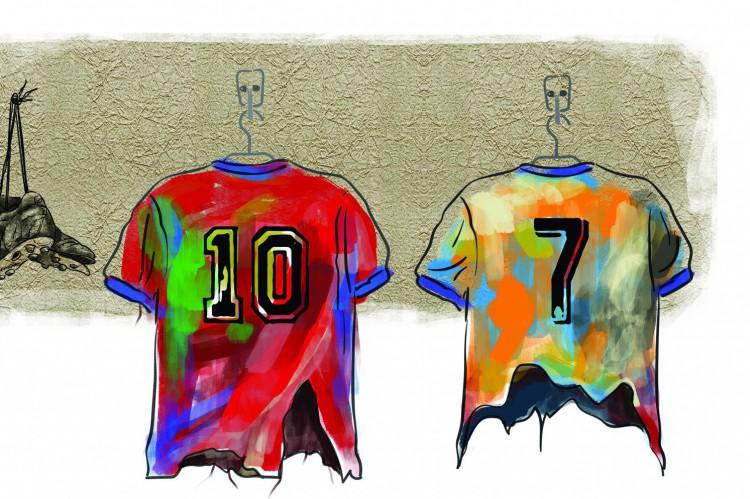 Camisa 10 de Messi, camisa 7 de Cristiano Ronaldo